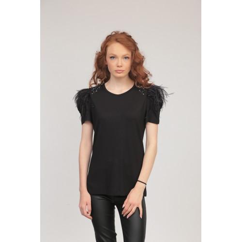 Блуза 231 черна с пера