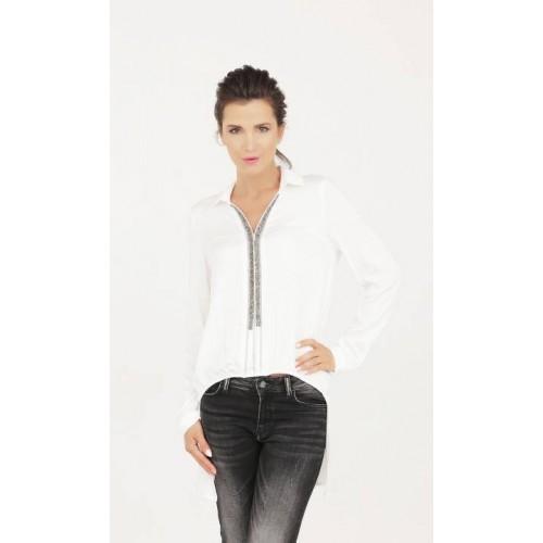Бяла риза 973 с блестящи елементи