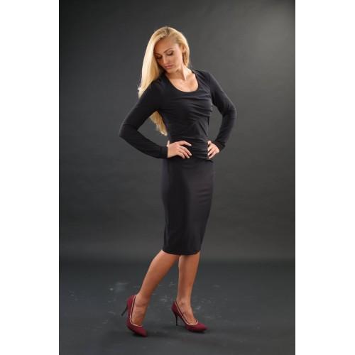 Черна рокля от еластично трико 14821