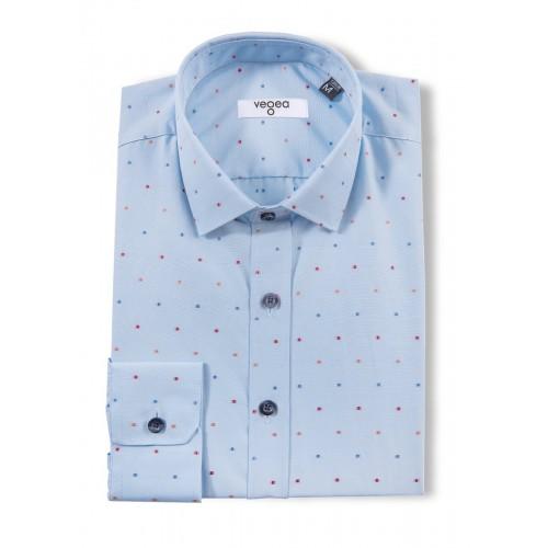 Мъжка риза синя с фигури 0036